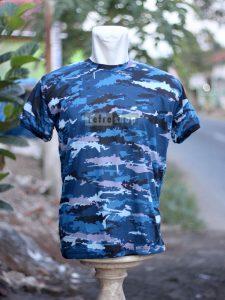 Kaos Militer Lengan Pendek Biru Strimin KLBS02DD Nyaman Adem